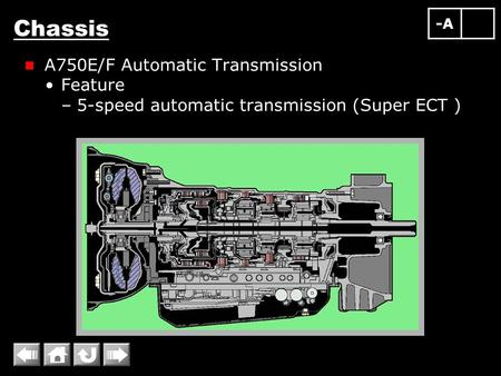 Chassis A750E/F Automatic Transmission Feature –5-speed automatic transmission (Super ECT ) -A.