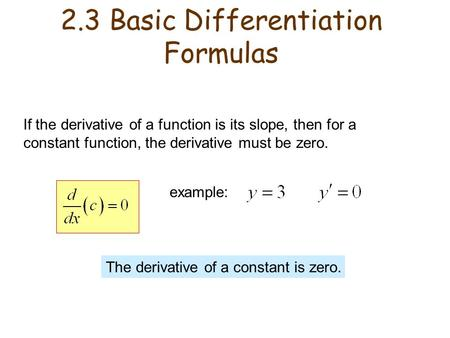 If the derivative of a function is its slope, then for a constant function, the derivative must be zero. example: The derivative of a constant is zero.