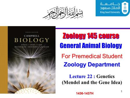 1 Zoology 145 course General Animal Biology For Premedical Student 1436-1437H Zoology Department Lecture 22 : Lecture 22 : Genetics (Mendel and the Gene.