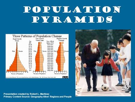 Population Pyramids Presentation created by Robert L. Martinez Primary Content Source: Geography Alive! Regions and People.