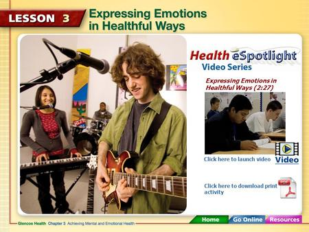 Expressing Emotions in Healthful Ways (2:27) Click here to launch video Click here to download print activity.