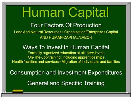 Human Capital Four Factors Of Production Land And Natural Resources Organization/Enterprise Capital AND HUMAN CAPITAL/LABOR Ways To Invest In Human Capital.