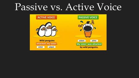 "Passive vs. Active Voice. Passive Voice The ball was thrown by the football player. Direct object verb actor/doer Verb in form ""to-be"" + past participle."