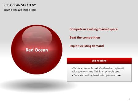 Your own sub headline RED OCEAN STRATEGY Compete in existing market space Beat the competition Exploit existing demand Red Ocean 1.