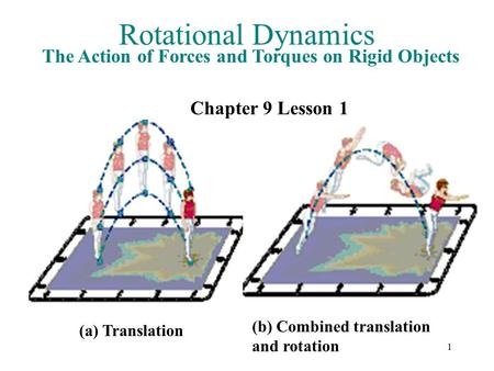 1 Rotational Dynamics The Action of Forces and Torques on Rigid Objects Chapter 9 Lesson 1 (a) Translation (b) Combined translation and rotation.