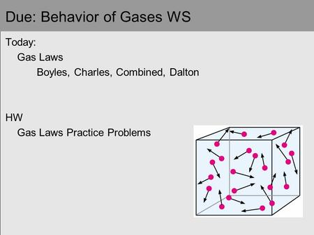 Due: Behavior of Gases WS Today: Gas Laws Boyles, Charles, Combined, Dalton HW Gas Laws Practice Problems.