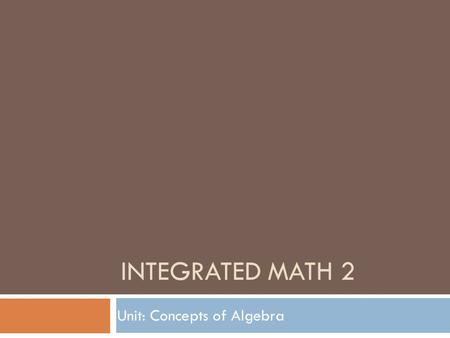 INTEGRATED MATH 2 Unit: Concepts of Algebra. Topics Covered  Properties of Real Numbers  Solving equations (from applications)  Verifying Solutions/algebraic.