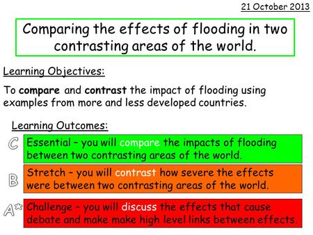 Comparing the effects of flooding in two contrasting areas of the world. Learning Objectives: To compare and contrast the impact of flooding using examples.