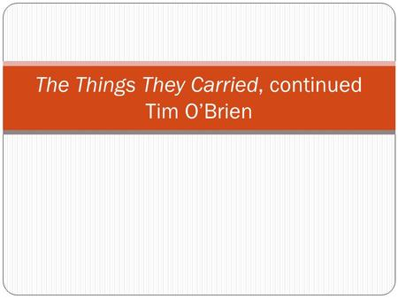 The Things They Carried, continued Tim O'Brien. Do Now How would you define an honors student?