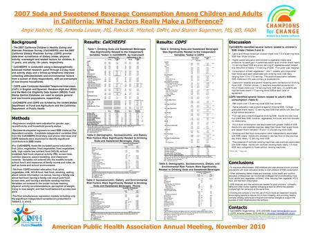 Results: CalCHEEPS 2007 Soda and Sweetened Beverage Consumption Among Children and Adults in California: What Factors Really Make a Difference? Angie Keihner,