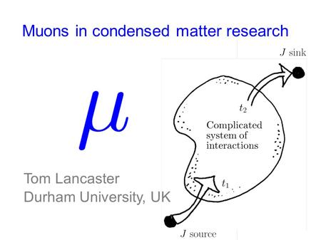 Muons in condensed matter research Tom Lancaster Durham University, UK.