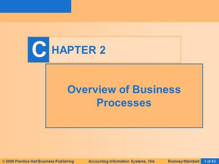 © 2006 Prentice Hall Business Publishing Accounting Information Systems, 10/e Romney/Steinbart1 of 43 C HAPTER 2 Overview of Business Processes.