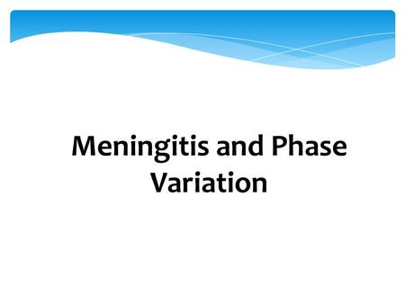 Meningitis and Phase Variation. Recap: genes and proteins G TC AG CT A G CT A T AT A G C DNA Proteins UCCUGAAUG RNA.