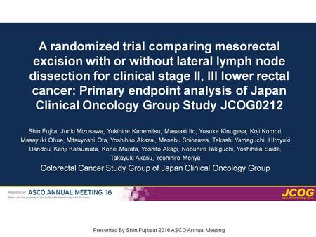 Presented By Shin Fujita at 2016 ASCO Annual Meeting