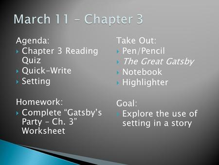 agenda setting assignment Agenda: assignment: ch 9 is homework  agenda: ch 1 setting activity--if you were absent, get the printout, but do not make this up until you've completed one of.