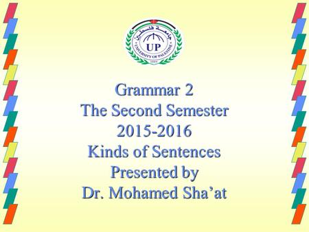 Grammar 2 The Second Semester 2015-2016 Kinds of Sentences Presented by Dr. Mohamed Sha'at.