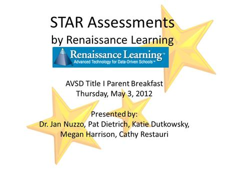 STAR Assessments by Renaissance Learning AVSD Title I Parent Breakfast Thursday, May 3, 2012 Presented by: Dr. Jan Nuzzo, Pat Dietrich, Katie Dutkowsky,