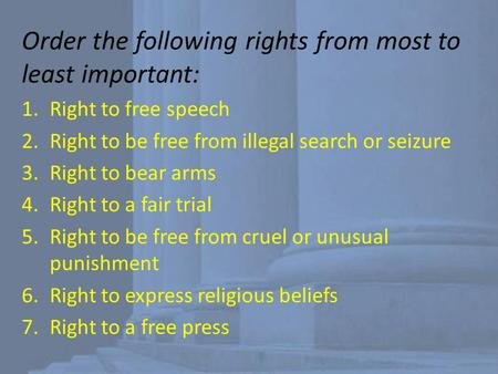 Order the following rights from most to least important: 1.Right to free speech 2.Right to be free from illegal search or seizure 3.Right to bear arms.