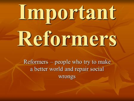 Important Reformers Reformers – people who try to make a better world and repair social wrongs.