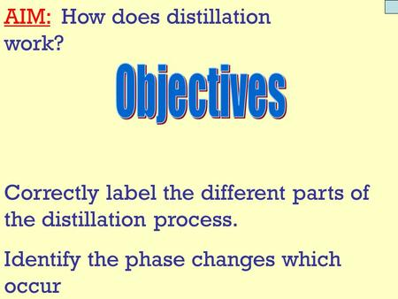 AIM: How does distillation work? Correctly label the different parts of the distillation process. Identify the phase changes which occur.