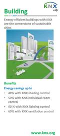 Building Benefits Energy savings up to 40% with KNX shading control 50% with KNX individual room control 60 % with KNX lighting control 60% with KNX ventilation.