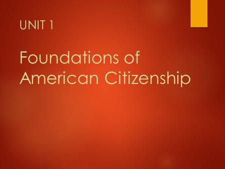 UNIT 1 Foundations of American Citizenship. What is civics?  Civics is the study of the rights and duties of citizens.  Rights- privileges guaranteed.