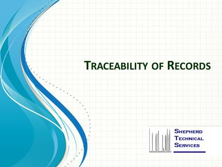 T RACEABILITY OF R ECORDS. M EI B ETH S HEPHERD 3 rd Party Assessors Consultants.