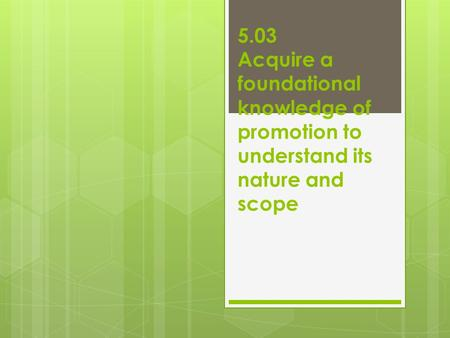 5.03 Acquire a foundational knowledge of promotion to understand its nature and scope.