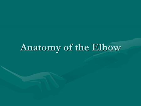 Anatomy of the Elbow. Bones of the Elbow HumerusHumerus RadiusRadius UlnaUlna.