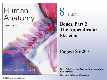 © 2014 Pearson Education, Inc. PowerPoint ® Lecture Presentations prepared by Leslie Hendon University of Alabama, Birmingham 8 PART 1 Bones, Part 2: The.