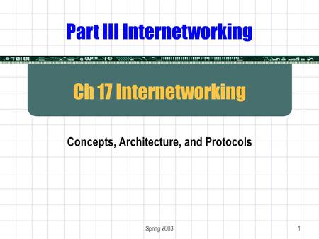 Spring 20031 Ch 17 Internetworking Concepts, Architecture, and Protocols Part III Internetworking.