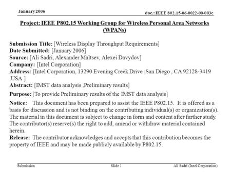Doc.: IEEE 802.15-06-0022-00-003c Submission January 2006 Ali Sadri (Intel Corporation)Slide 1 Project: IEEE P802.15 Working Group for Wireless Personal.