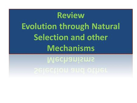 Evolution: modern organisms have changed over time and all organisms share a common ancestor Evidence for Evolution Homologous Structures Fossil Record.