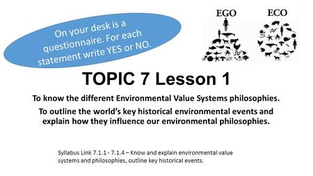 To know the different Environmental Value Systems philosophies.