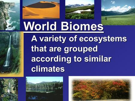 World Biomes A variety of ecosystems that are grouped according to similar climates.
