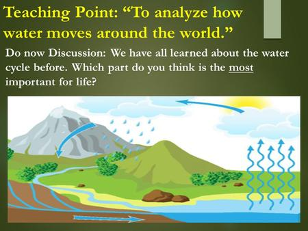 "Teaching Point: ""To analyze how water moves around the world."" Do now Discussion: We have all learned about the water cycle before. Which part do you think."