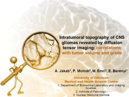Intratumoral topography of CNS gliomas revealed by diffusion tensor imaging: correlations with tumor volume and grade A. Jakab 1, P. Molnár 2, M. Emri.