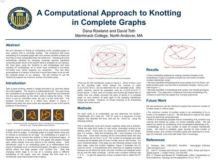 A Computational Approach to Knotting in Complete Graphs Dana Rowland and David Toth Merrimack College, North Andover, MA Abstract We are interested in.