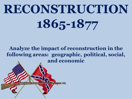 RECONSTRUCTION 1865-1877 Analyze the impact of reconstruction in the following areas: geographic, political, social, and economic.