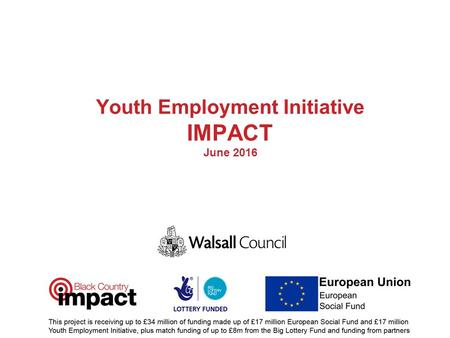 Youth Employment Initiative IMPACT June 2016. Presenter Claire Wills – Employment & Skills Officer Shain Akhtar – Quality Assurance/Inspection & Commissioning.