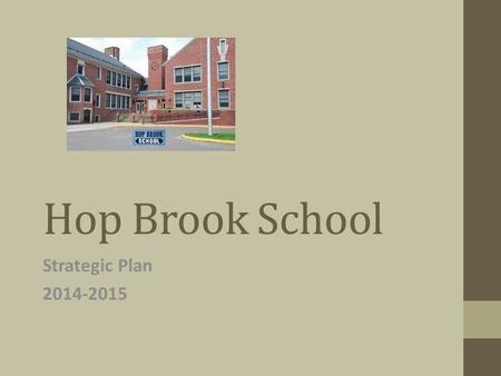 Hop Brook School Strategic Plan 2014-2015. Hop Brook School 337 Students Free and Reduced- 178 students, 52.8% ELL-33 students, 9.8% Special Education-