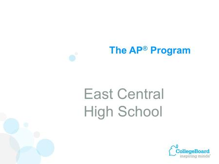 The AP ® Program East Central High School. Advanced Placement Program ® (AP ® ) courses are college-level courses offered in high school. AP courses reflect.