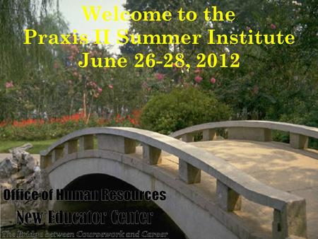 Welcome to the Praxis II Summer Institute June 26-28, 2012.