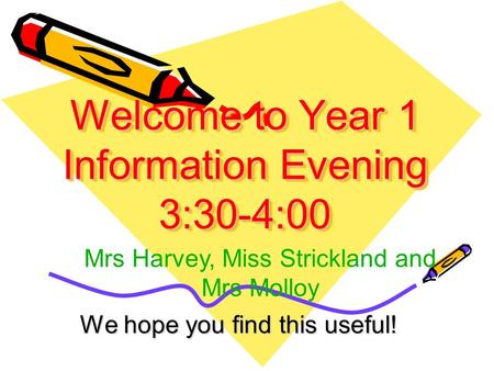 Welcome to Year 1 Information Evening 3:30-4:00 We hope you find this useful! Mrs Harvey, Miss Strickland and Mrs Molloy.