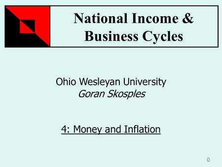National Income & Business Cycles 0 Ohio Wesleyan University Goran Skosples 4: Money and Inflation.