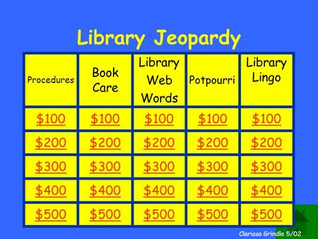 Clarissa Grindle Library Jeopardy Procedures Book Care Library Web Words Potpourri Library Lingo $100 $200 $300 $400 $500 Clarissa Grindle 5/02.