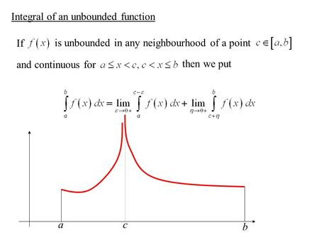 Integral of an unbounded function If is unbounded in any neighbourhood of a point and continuous for then we put a b c.