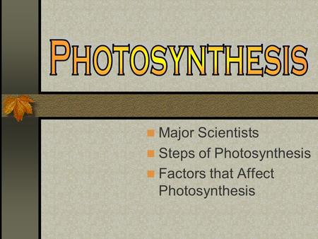 Major Scientists Steps of Photosynthesis Factors that Affect Photosynthesis.