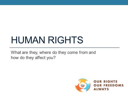 HUMAN RIGHTS What are they, where do they come from and how do they affect you?