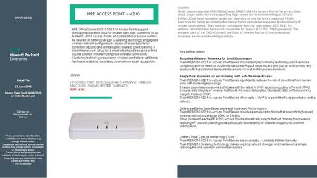 Retail File 23 June 2016 Promo Valid Until 30/06/2016 or Until Stock Last JL024A HP ACCESS POINT M210 DUAL BAND 2 ANTENNAS WIRELESS MIMO N 802.11A/B/G/N.